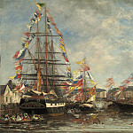 Festival in the Harbor of Honfleur, Eugene Boudin