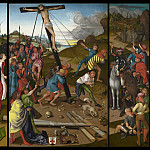 Master of the Starck Triptych - The Raising of the Cross [center, left, and right panels], National Gallery of Art (Washington)
