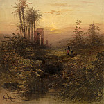 Gabriel Hippolyte Lebas - Sunset in an Oriental Landscape, National Gallery of Art (Washington)
