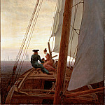 On a Sailing Ship, Caspar David Friedrich