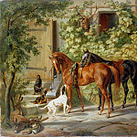 Horses at the Porch, Albrecht Adam