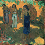 Three Tahitian Women Against a Yellow Background, Paul Gauguin
