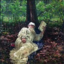 Ilya Repin - Leo Tolstoy on vacation in the woods. 1891