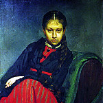 Ilya Repin - Portrait VA Shevtsova, later wife of the artist. 1869