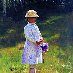 Girl with Flowers . 1878, Ilya Repin