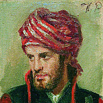 Ilya Repin - Portrait of a young man in a turban
