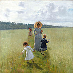 Ilya Repin - on a balk. VA Repin, with children attending on a balk. 1879