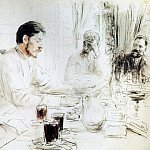 M. Bitter reads in Penaty his drama Children of the sun. 1905, Ilya Repin