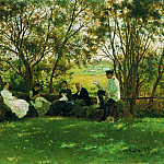On the Turf Bench. Picture. 1876, Ilya Repin