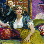 Ilya Repin - Portrait of the poet SM Gorodetsky and his wife. 1914