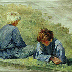 Boys on the grass. 1903, Ilya Repin