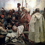 Zaporozhye Cossacks Writing a Letter to the Turkish Sultan. 1880-1891, Ilya Repin