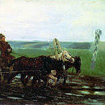 Under escort. On a muddy road. 1876, Ilya Repin