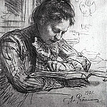 Ilya Repin - For reading (Portrait of Natalia Borisovny Nordman). 1901