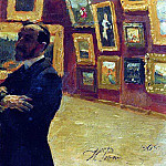 NA A. Mudrogel in the pose of Pavel Tretyakov in the halls of the gallery. 1904, Ilya Repin