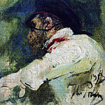 Ilya Repin - Man in white jacket. 1913