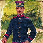 Ilya Repin - young soldier. Paris type. 1870