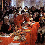 Ilya Repin - A. Pushkin on the act in the Lyceum on Jan. 8, 1815 reads his poem memories in Tsarskoe Selo. 1911