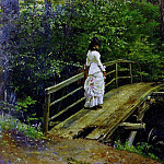 Ilya Repin - Summer Landscape (Vera A. Repin on the bridge in Abramtsevo). 1879