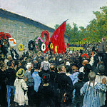 Kuzma Sergeevich Petrov-Vodkin - Annual memorial rally at the Wall of the Communards in the Pere Lachaise cemetery in Paris