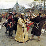 Ilya Repin - Arrival of the kings of John and Peters on Cemenivskiy funny court accompanied by his suite. 1900