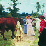 Ladies among the herds of cows, Ilya Repin