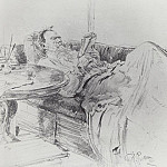 Leo Tolstoy reading. 1891, Ilya Repin