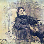 Ilya Repin - Portrait of the actress Eleonora Duse. 1891
