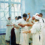 Surgeon E. Pavlov in operating room. 1888, Ilya Repin