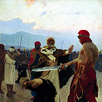 Nicholas of Myra eliminates the death penalty three innocents. 1890, Ilya Repin