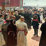 Ilya Repin - Admission township heads Emperor Alexander III in the courtyard of Petrovsky Palace in Moscow. 1885-1886