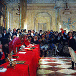 Ilya Repin - A. Pushkin on the act in the Lyceum on Jan. 8, 1815. 1911