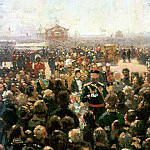 Ilya Repin - Admission township heads Emperor Alexander III in the courtyard of Petrovsky Palace in Moscow. 1885