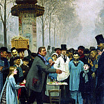 Ilya Repin - Sold news in Paris. 1873