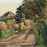 Konstantin Andreevich (1869-1939) Somov - The road to the cottage. 1896