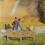 Konstantin Andreevich (1869-1939) Somov - Kiss. Illustration to the Book markizy2. 1908