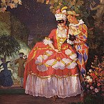 Harlequin and woman. 1921, Konstantin Andreevich (1869-1939) Somov