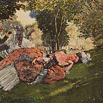 fallen asleep on the grass a young woman. 1913, Konstantin Andreevich (1869-1939) Somov