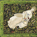 Konstantin Andreevich (1869-1939) Somov - Lady with a dog resting on the lawn