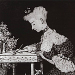 lady behind the desk . 1904, Konstantin Andreevich (1869-1939) Somov