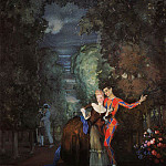 Harlequin and woman. 1912, Konstantin Andreevich (1869-1939) Somov