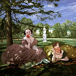 Two ladies in the park. 1919, Konstantin Andreevich (1869-1939) Somov