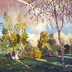 Konstantin Andreevich (1869-1939) Somov - Landscape with two peasant girls and rainbows. 1918