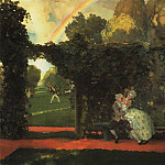 Konstantin Andreevich (1869-1939) Somov - Windows - Doors - landscape (open the door to the garden). 1934