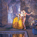 Harlequin and the lady . 1912, Konstantin Andreevich (1869-1939) Somov