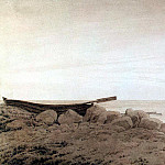 Friedrich, Caspar David. Boat on the shore at the rising moon, Caspar David Friedrich