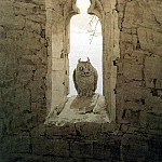 Friedrich, Caspar David. Owl in the embrasure of a Gothic window, part 12 Hermitage