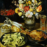 Flegel, George. Still life with flowers and snacks, part 12 Hermitage