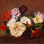 Fantin-Latour, Henri. The roses and nasturtiums in a vase, part 12 Hermitage