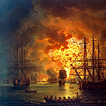 Hakkert, Jacob Philip. The death of the Turkish fleet in the battle Chesmenskaya, Якоб Филипп Гаккерт